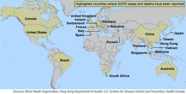 SARS distribució casos mundial